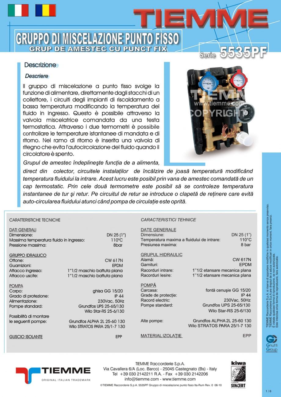 Pagina 1 - Grup de amestec pentru sisteme de incalzire in pardoseala TIEMME Fisa tehnica Romana,...
