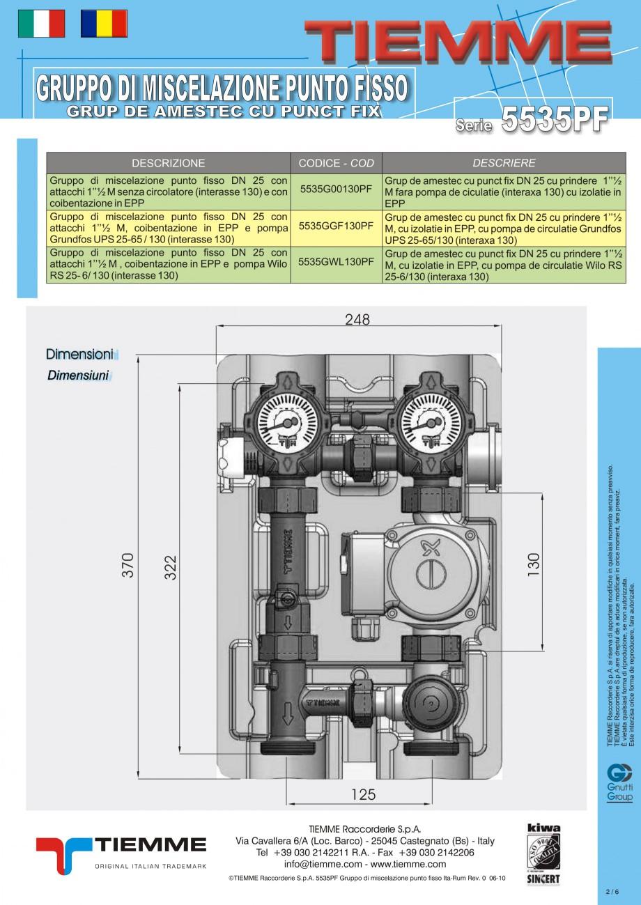 Pagina 2 - Grup de amestec pentru sisteme de incalzire in pardoseala TIEMME Fisa tehnica Romana,...