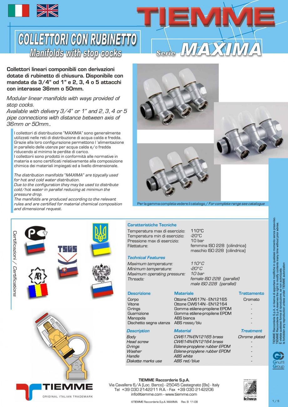 Pagina 1 - Colectori cu robineti pentru sisteme de incalzire in pardoseala TIEMME Fisa tehnica...