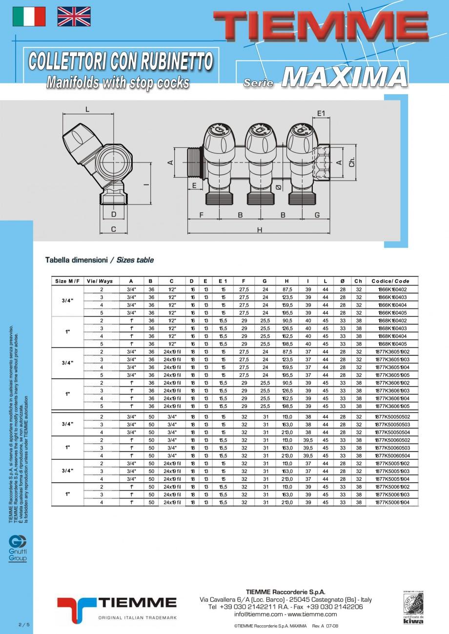 Pagina 2 - Colectori cu robineti pentru sisteme de incalzire in pardoseala TIEMME Fisa tehnica...