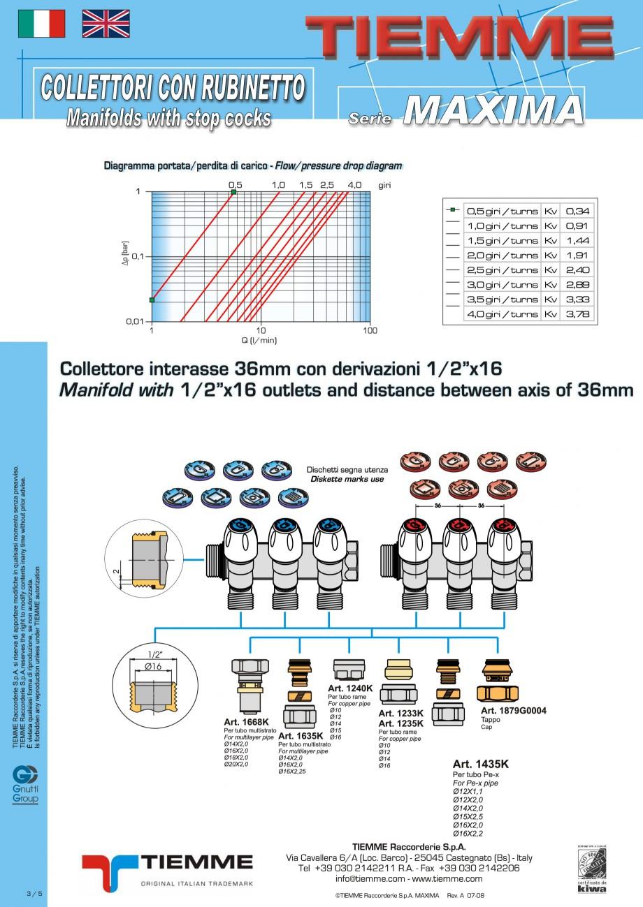 Pagina 3 - Colectori cu robineti pentru sisteme de incalzire in pardoseala TIEMME Fisa tehnica...