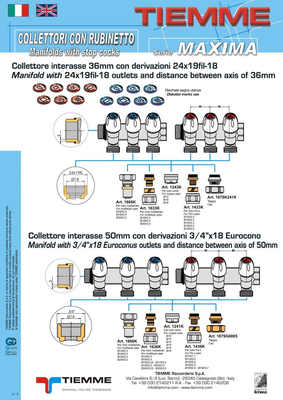 Pagina 4 - Colectori cu robineti pentru sisteme de incalzire in pardoseala TIEMME Fisa tehnica...