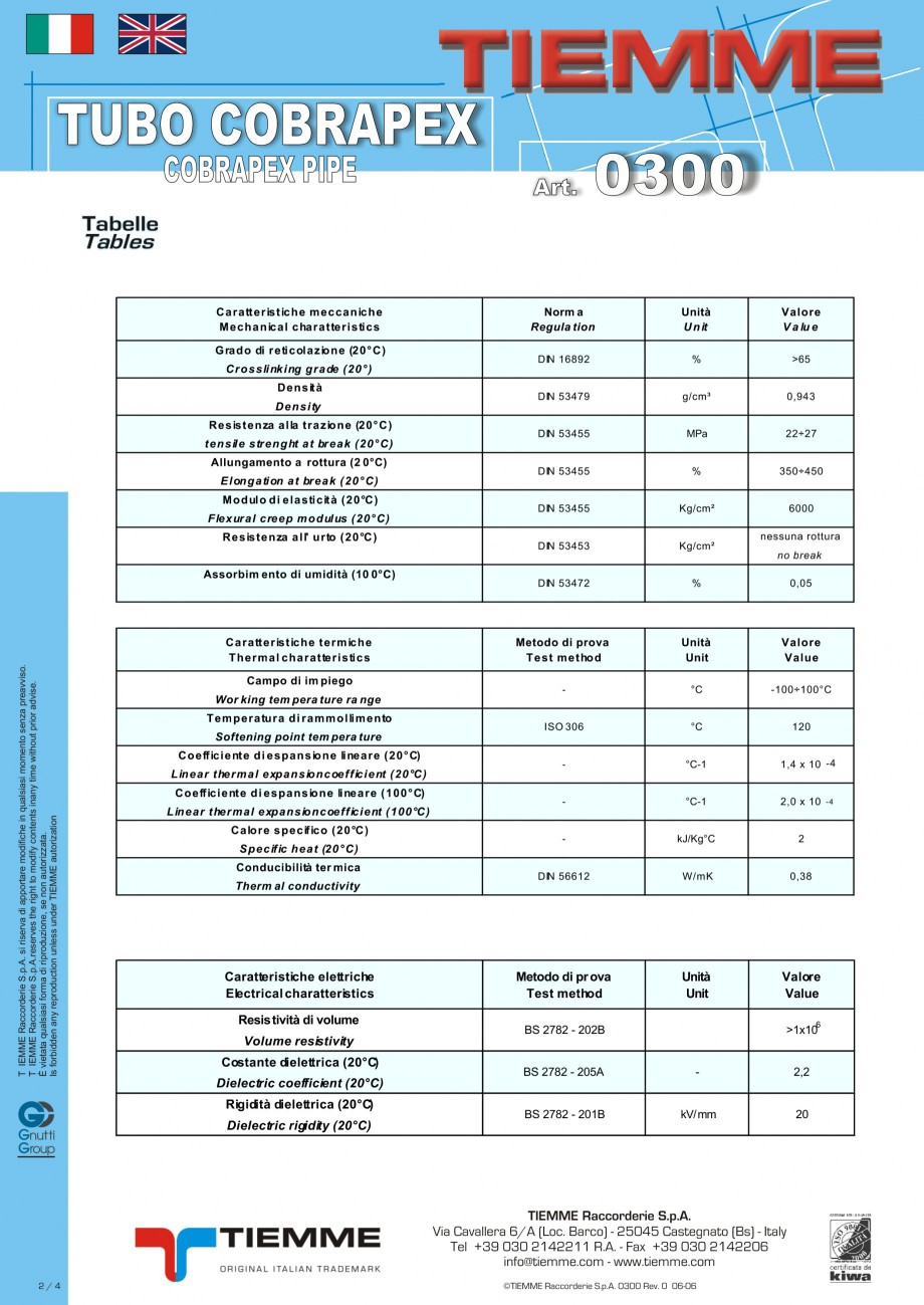 Pagina 2 - Tuburi din polietilena reticulata cu silan si bariera antioxigen TIEMME Fisa tehnica...