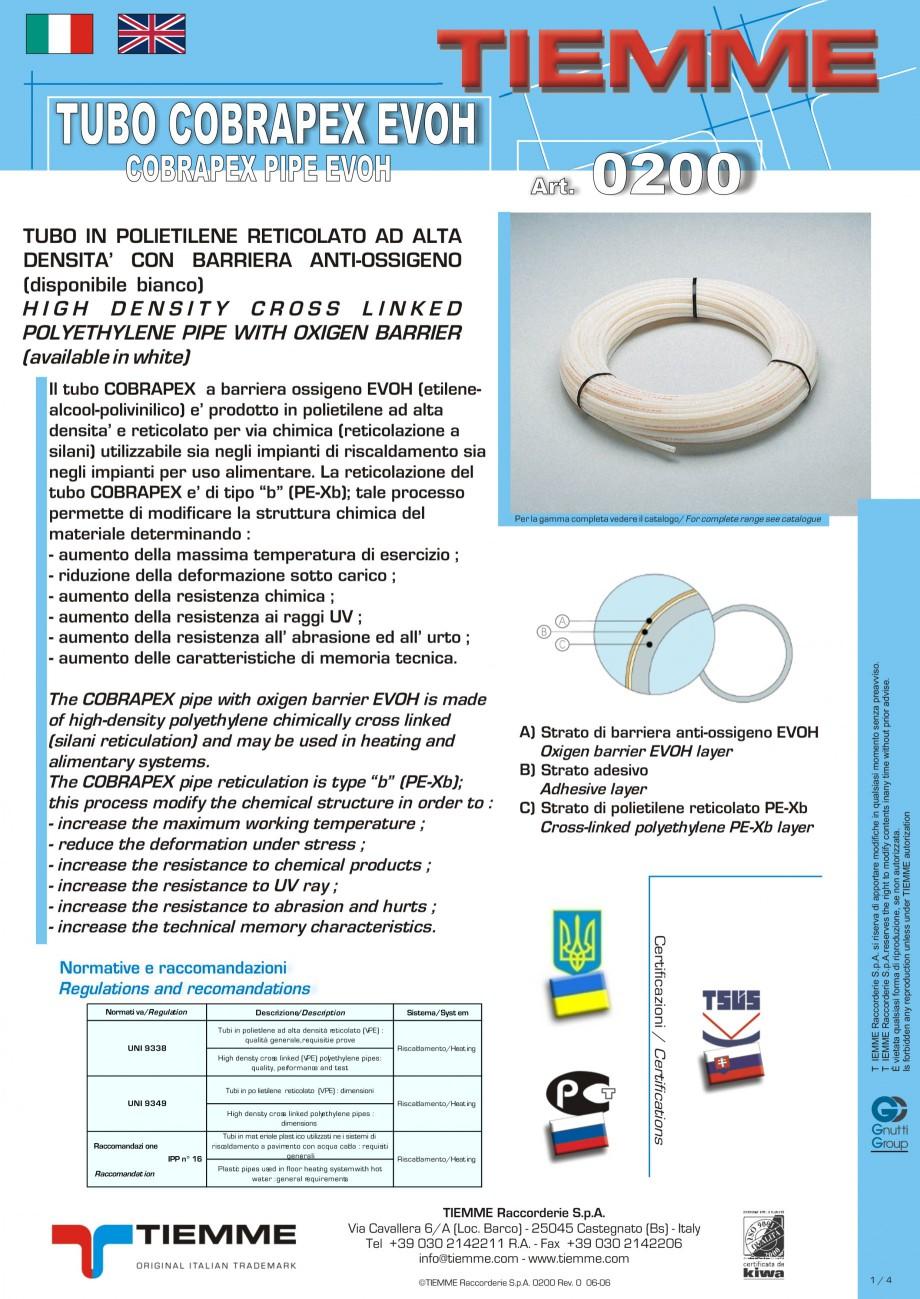 Pagina 1 - Tuburi din polietilena reticulata pentru incalzire in pardoseala TIEMME Fisa tehnica...