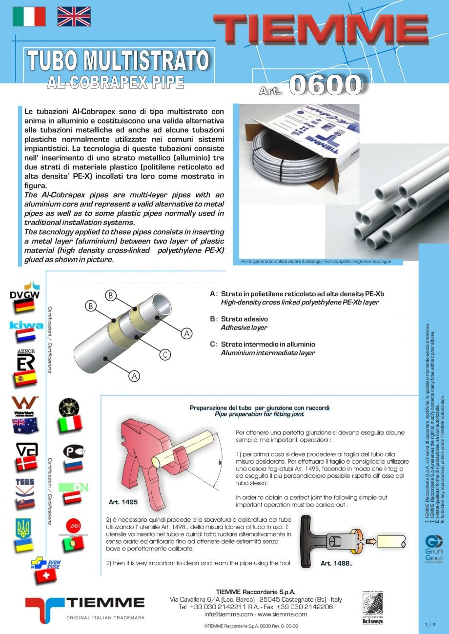 Pagina 1 - Tuburi multistrat cu insertie de aluminiu TIEMME Fisa tehnica Romana, Engleza, Italiana ...