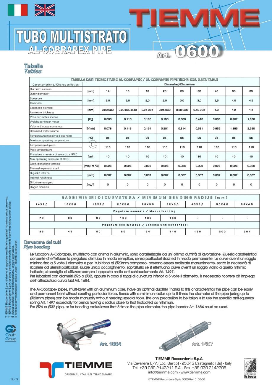 Pagina 2 - Tuburi multistrat cu insertie de aluminiu TIEMME Fisa tehnica Romana, Engleza, Italiana ...