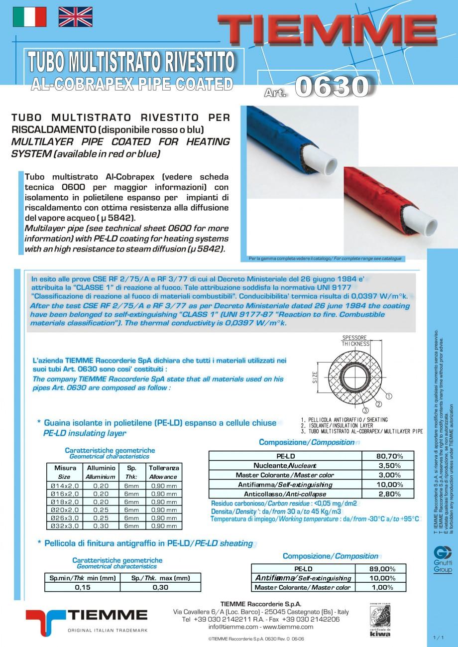 Pagina 1 - Tuburi multistrat cu acoperire de PE-LD TIEMME Fisa tehnica Engleza, Italiana TUBO...