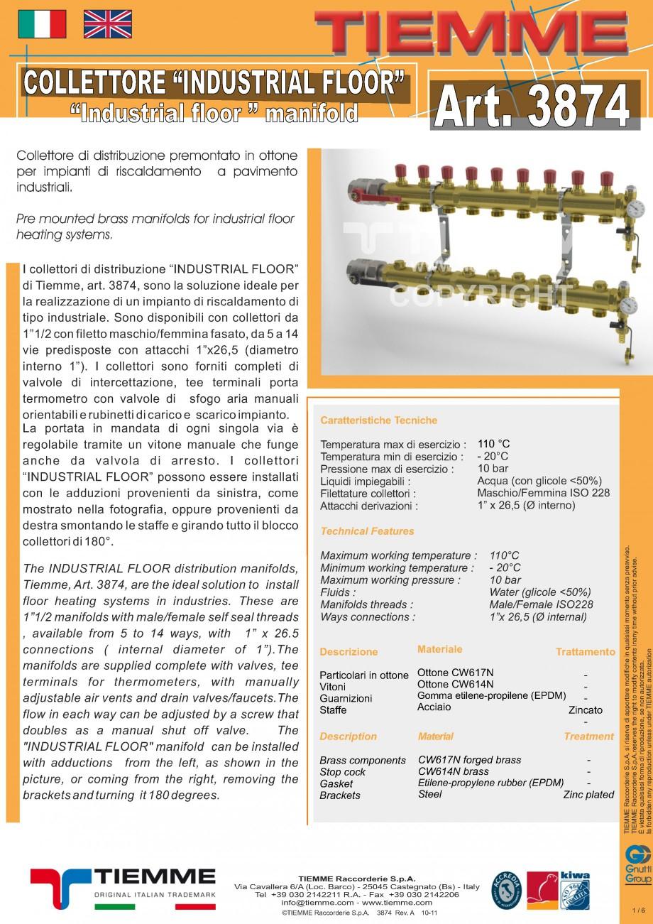 Pagina 1 - Cuplu de colectoare modulare din alama - Industrial Floor 3874 TIEMME Fisa tehnica...