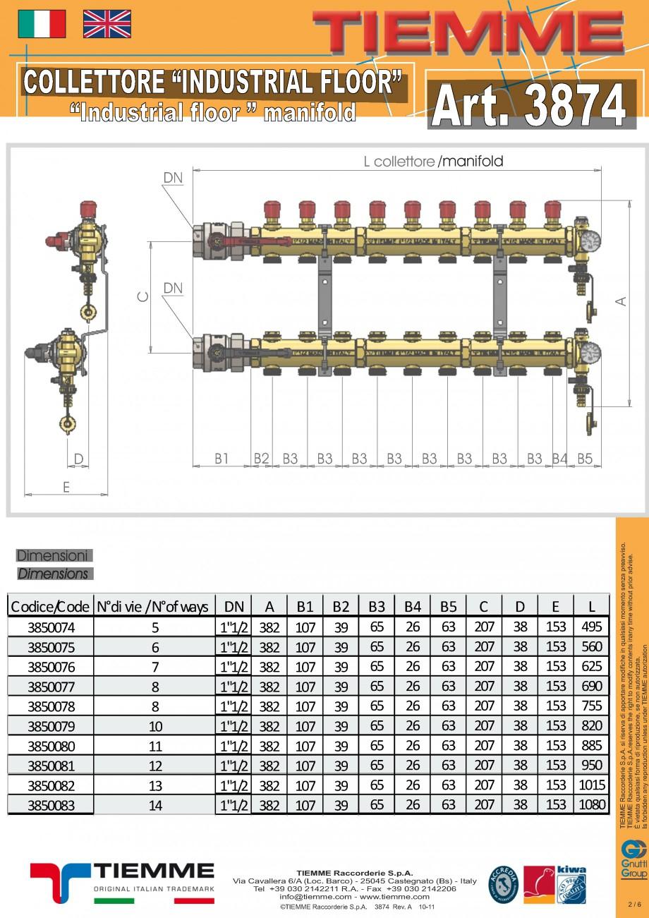 Pagina 2 - Cuplu de colectoare modulare din alama - Industrial Floor 3874 TIEMME Fisa tehnica...