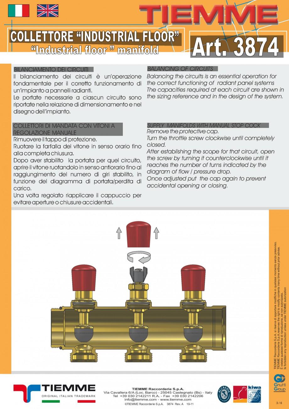 Pagina 3 - Cuplu de colectoare modulare din alama - Industrial Floor 3874 TIEMME Fisa tehnica...