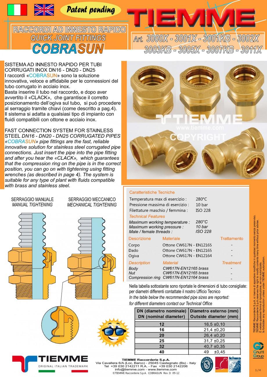 Pagina 1 - Racorduri cu prindere rapida TIEMME COBRASUN Fisa tehnica Romana Patent pending RACCORDI ...