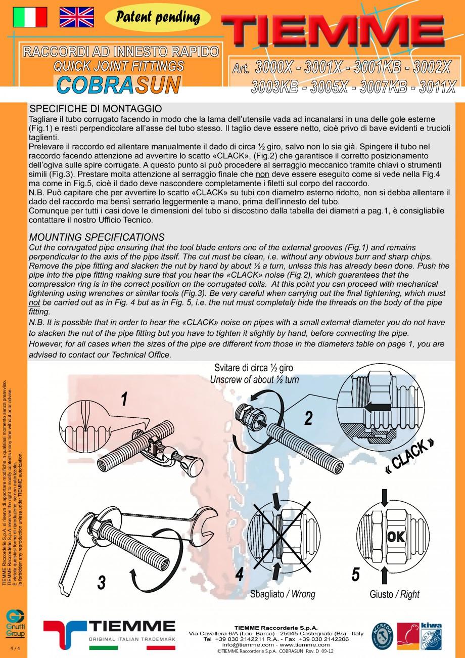 Pagina 4 - Racorduri cu prindere rapida TIEMME COBRASUN Fisa tehnica Romana 2 X 3 /4