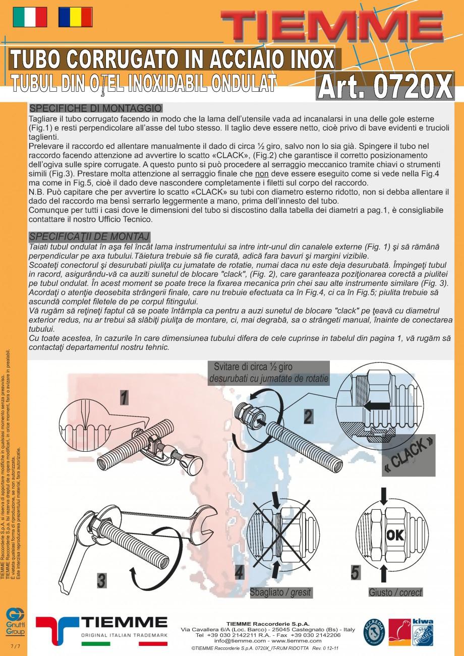 Pagina 2 - Tub din otel inoxidabil ondulat TIEMME 0720X Fisa tehnica Romana, Italiana ă pentru...