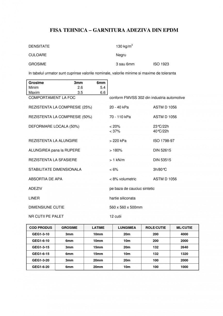 Pagina 1 - Garnitura adeziva din EPDM BANDATECH Fisa tehnica Romana FISA TEHNICA – GARNITURA...