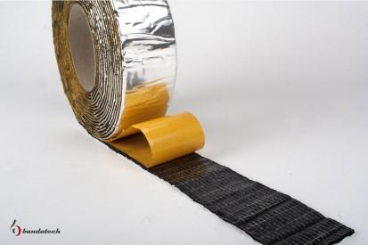 Rola banda adeziva anticondens din cauciuc elastomeric cu aluminiu - detaliu Banda adeziva anticondens din cauciuc
