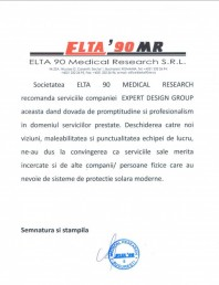 Recomandare ELTA 90 Medical Research S.R.L