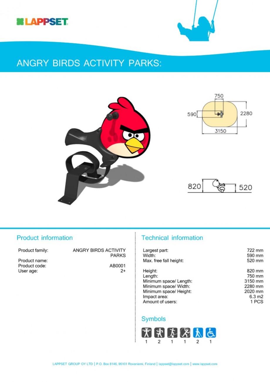 Pagina 1 - Echipament de joaca pentru copii - AB0001 LAPPSET ANGRY BIRDS Fisa tehnica Engleza