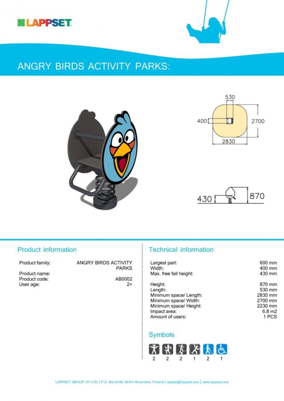 Pagina 1 - Echipament de joaca pentru copii - AB0002 LAPPSET ANGRY BIRDS Fisa tehnica Engleza