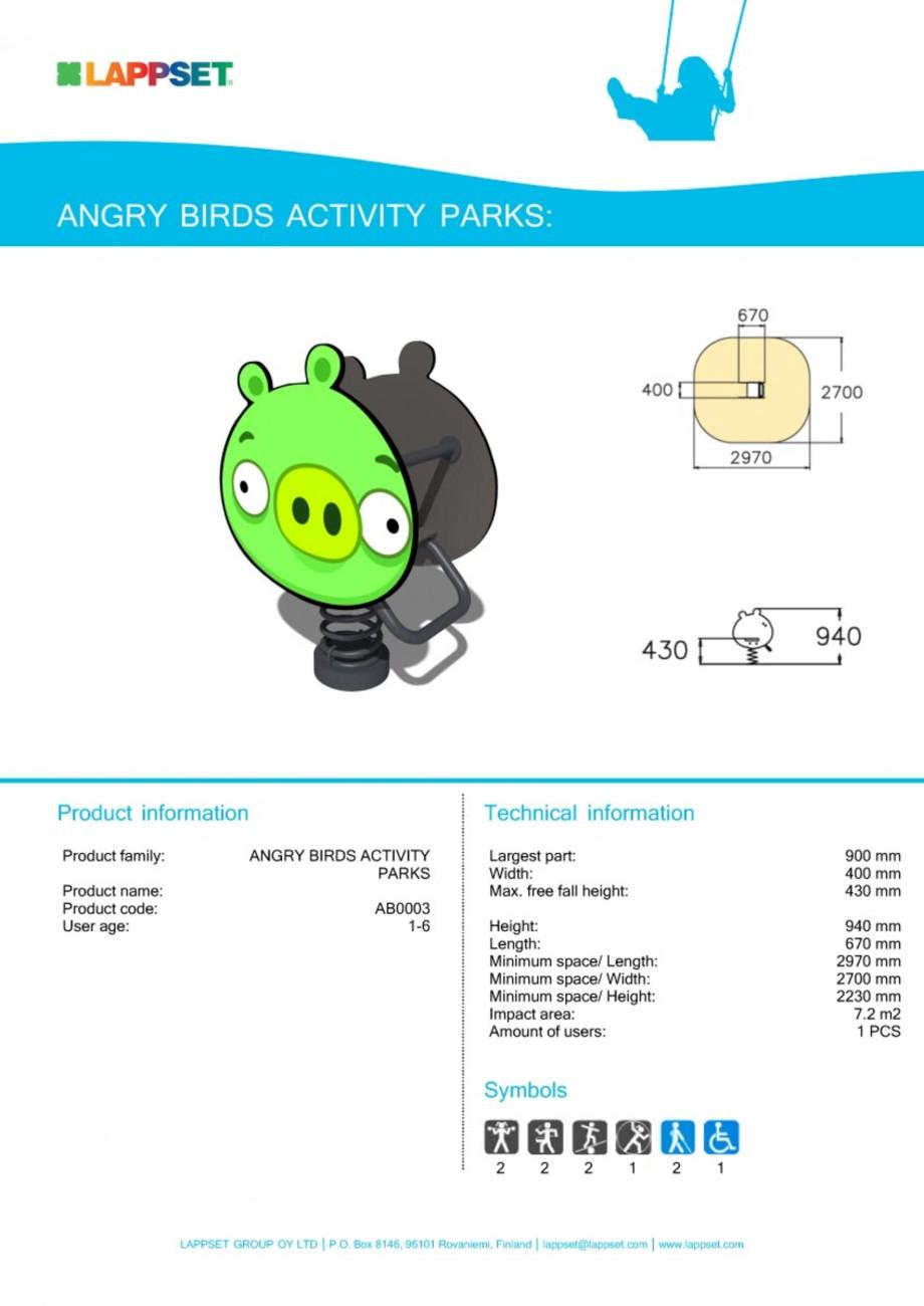 Pagina 1 - Echipament de joaca pentru copii - AB0003 LAPPSET ANGRY BIRDS Fisa tehnica Engleza