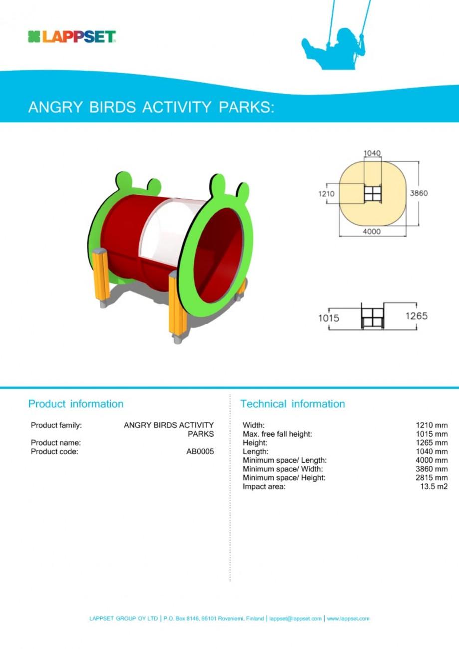 Pagina 1 - Echipament de joaca pentru copii - AB0005 LAPPSET ANGRY BIRDS Fisa tehnica Engleza