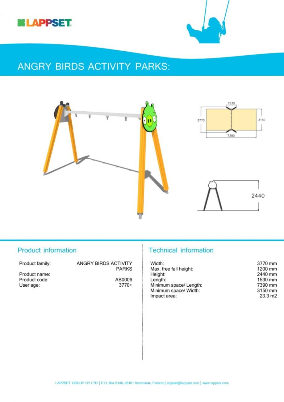 Pagina 1 - Echipament de joaca pentru copii - AB006 LAPPSET ANGRY BIRDS Fisa tehnica Engleza