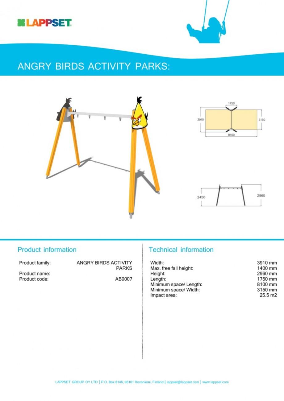 Pagina 1 - Echipament de joaca pentru copii - AB0007 LAPPSET ANGRY BIRDS Fisa tehnica Engleza