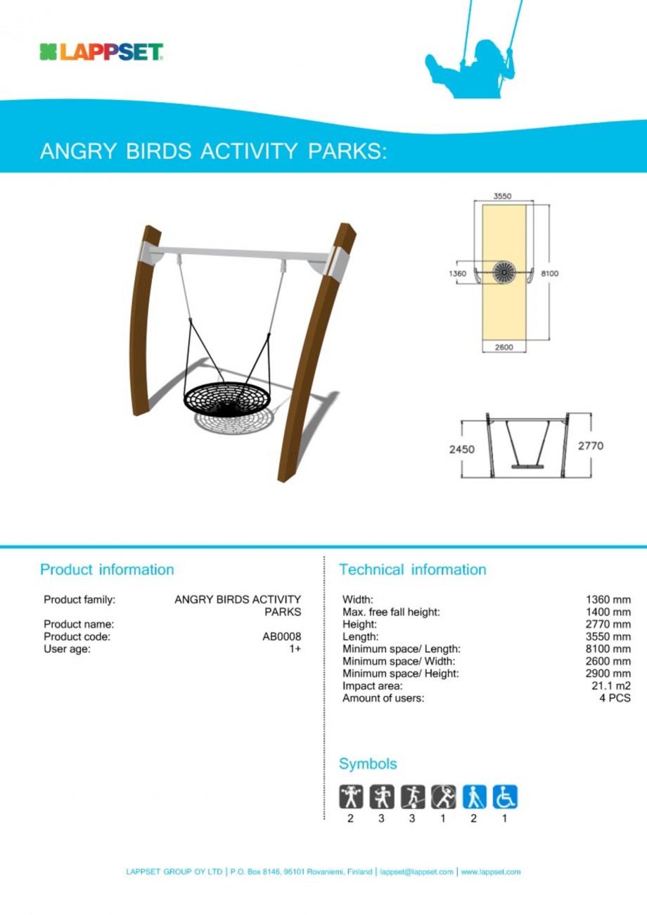 Pagina 1 - Echipament de joaca pentru copii - AB0008 LAPPSET ANGRY BIRDS Fisa tehnica Engleza