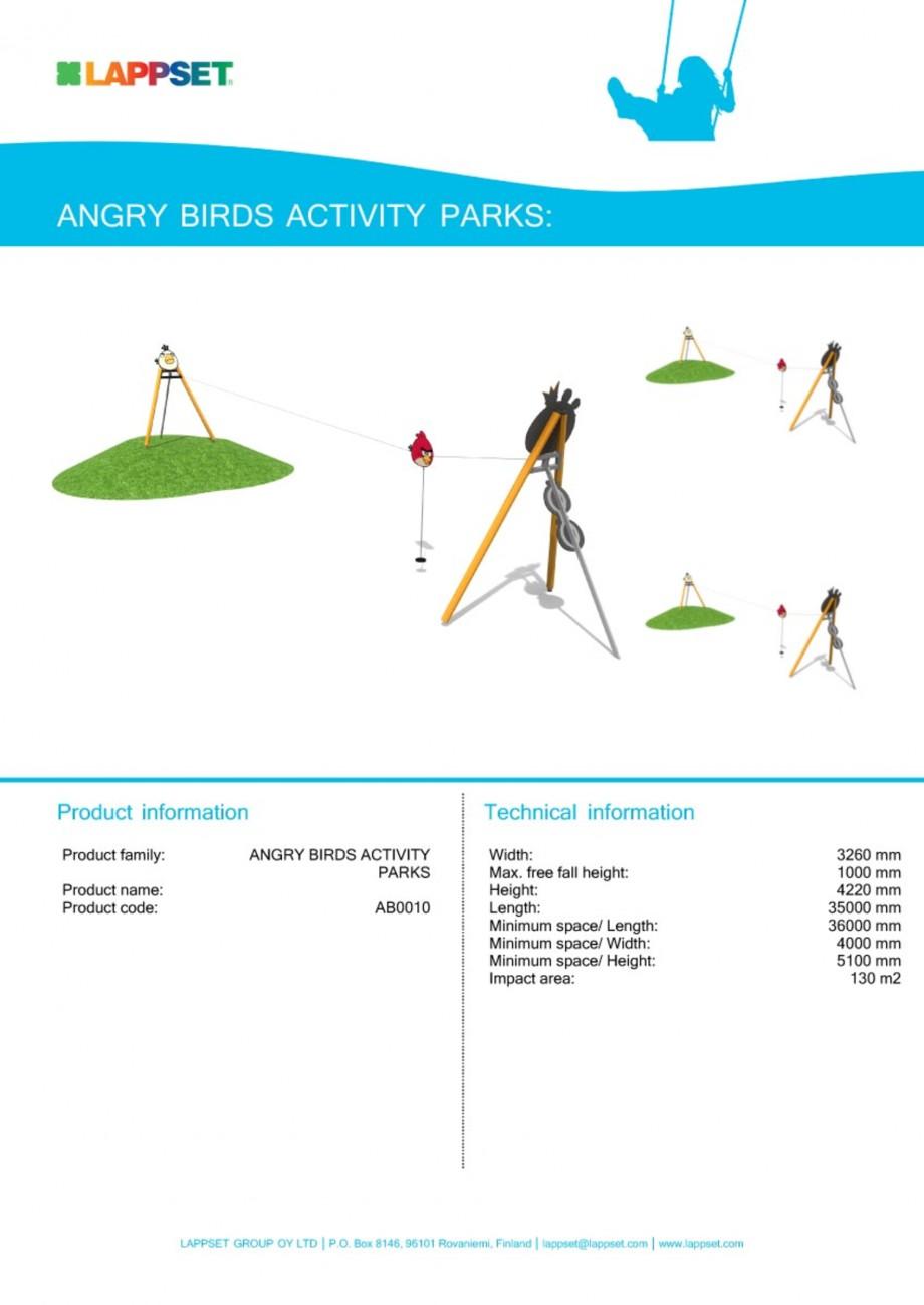 Pagina 1 - Echipament de joaca pentru copii - AB0010 LAPPSET ANGRY BIRDS Fisa tehnica Engleza