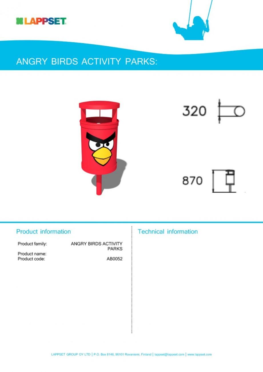 Pagina 1 - Echipament de joaca pentru copii - AB0052 LAPPSET ANGRY BIRDS Fisa tehnica Engleza