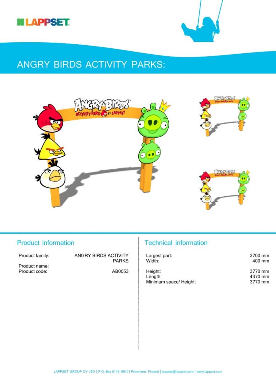 Pagina 1 - Echipament de joaca pentru copii - AB0053 LAPPSET ANGRY BIRDS Fisa tehnica Engleza
