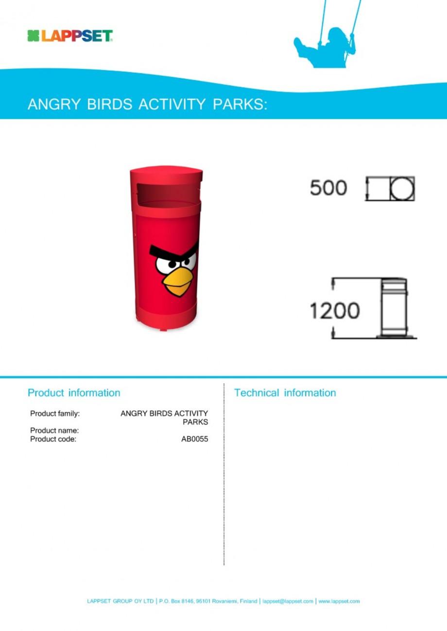 Pagina 1 - Echipament de joaca pentru copii - AB0055 LAPPSET ANGRY BIRDS Fisa tehnica Engleza
