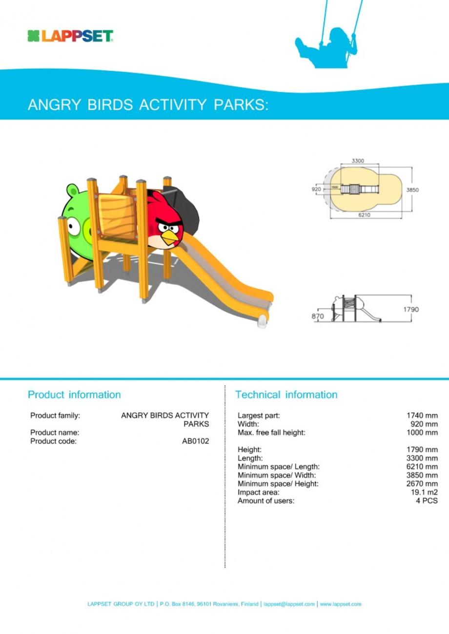 Pagina 1 - Echipament de joaca pentru copii - AB0102 LAPPSET ANGRY BIRDS Fisa tehnica Engleza