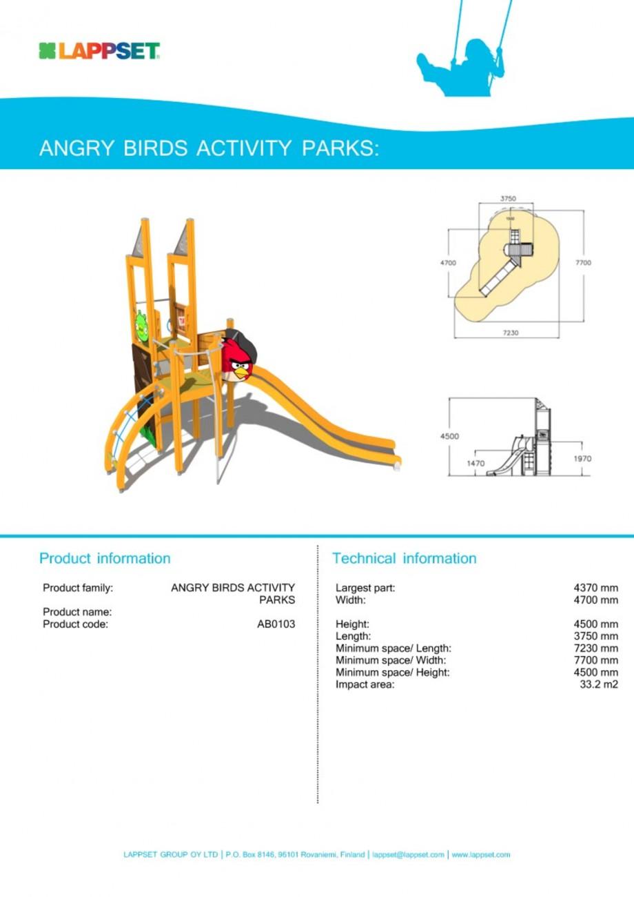 Pagina 1 - Echipament de joaca pentru copii - AB0103 LAPPSET ANGRY BIRDS Fisa tehnica Engleza