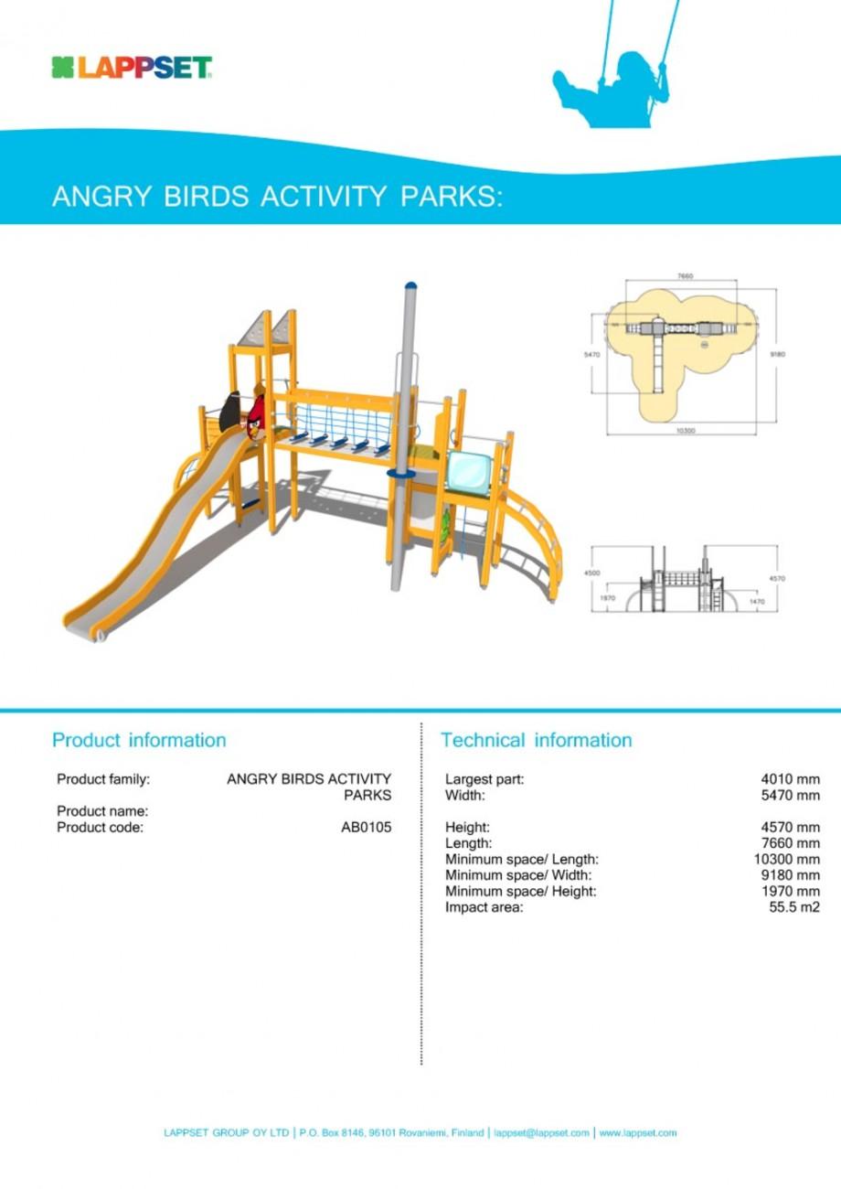 Pagina 1 - Echipament de joaca pentru copii - AB0105 LAPPSET ANGRY BIRDS Fisa tehnica Engleza