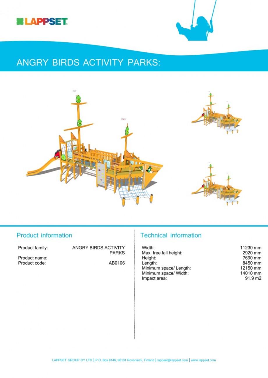 Pagina 1 - Echipament de joaca pentru copii - AB0106 LAPPSET ANGRY BIRDS Fisa tehnica Engleza