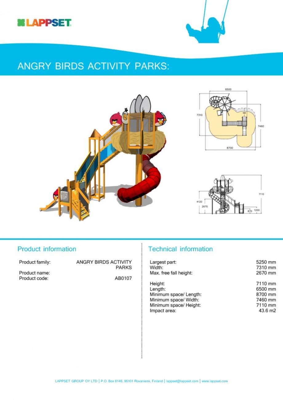 Pagina 1 - Echipament de joaca pentru copii - AB0107 LAPPSET ANGRY BIRDS Fisa tehnica Engleza