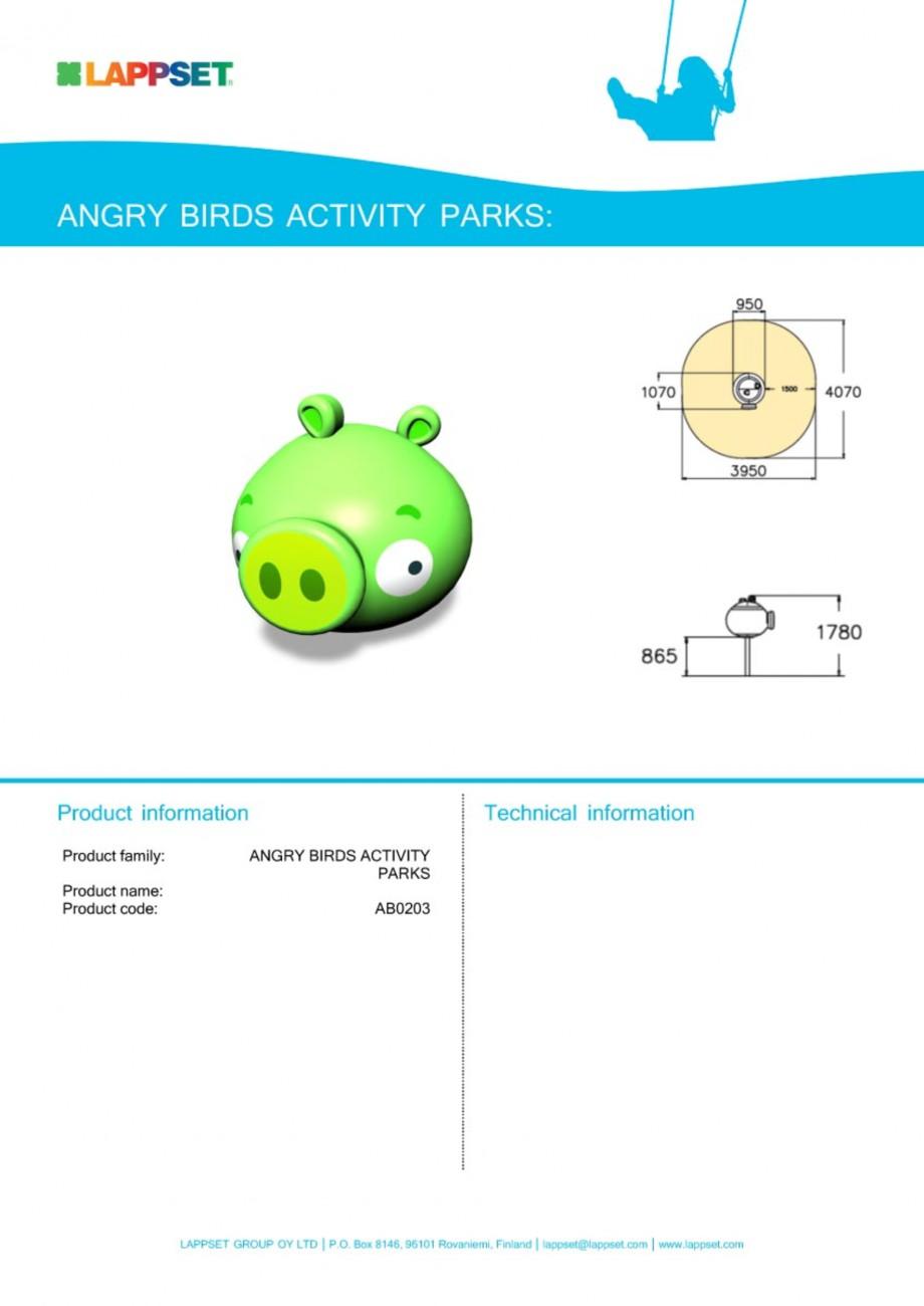 Pagina 1 - Echipament de joaca pentru copii - AB0203 LAPPSET ANGRY BIRDS Fisa tehnica Engleza