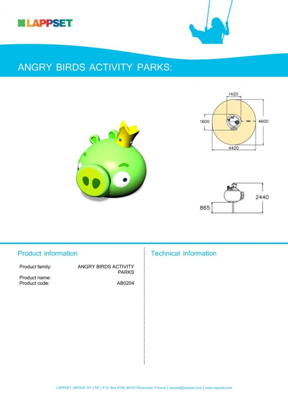 Pagina 1 - Echipament de joaca pentru copii - AB0204 LAPPSET ANGRY BIRDS Fisa tehnica Engleza