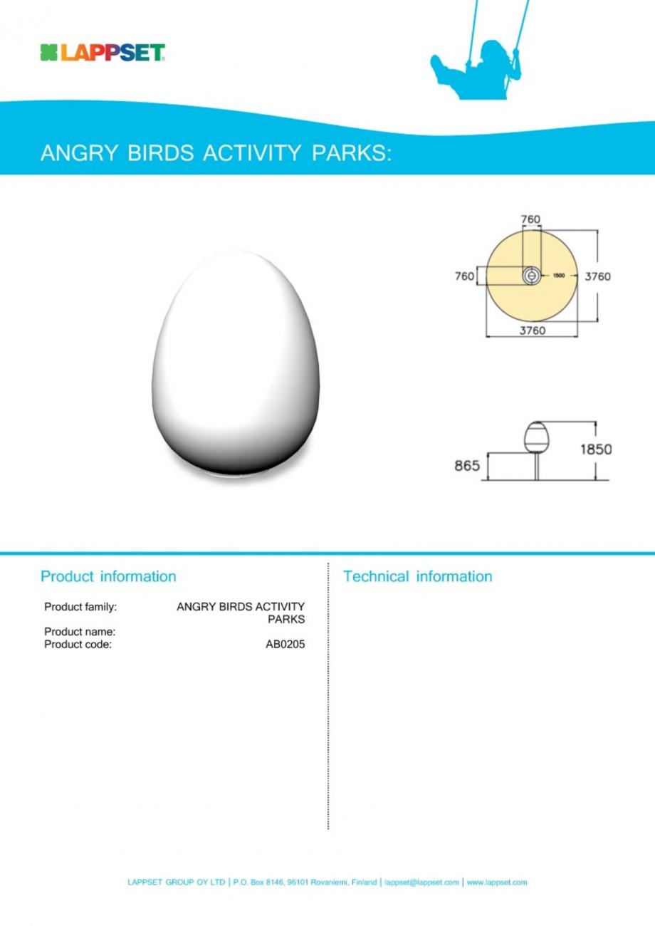 Pagina 1 - Echipament de joaca pentru copii - AB0205 LAPPSET ANGRY BIRDS Fisa tehnica Engleza