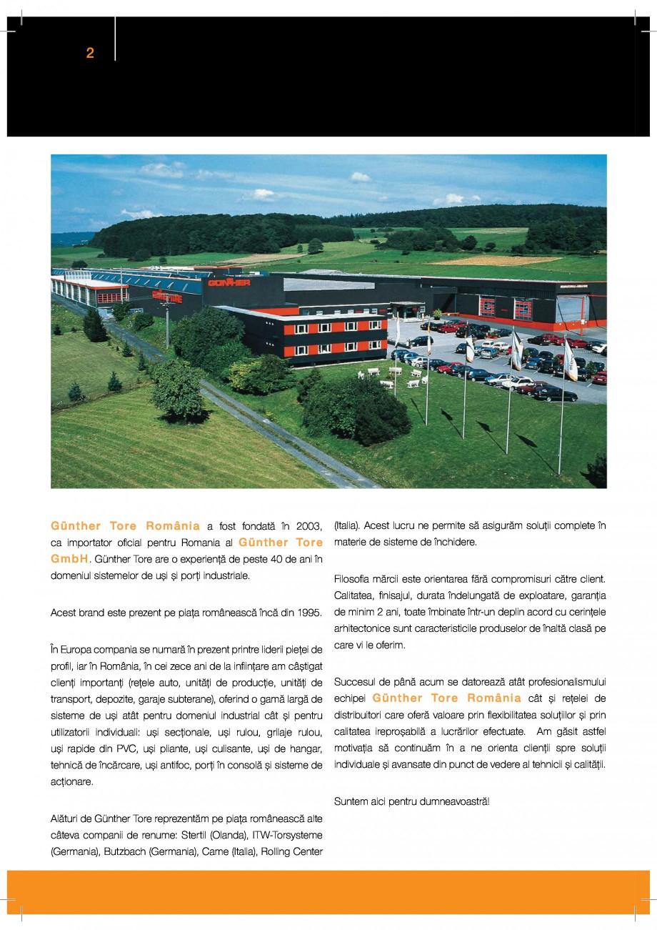 Pagina 2 - Porti industriale sectionale GUNTHER-TORE Catalog, brosura Romana &0
