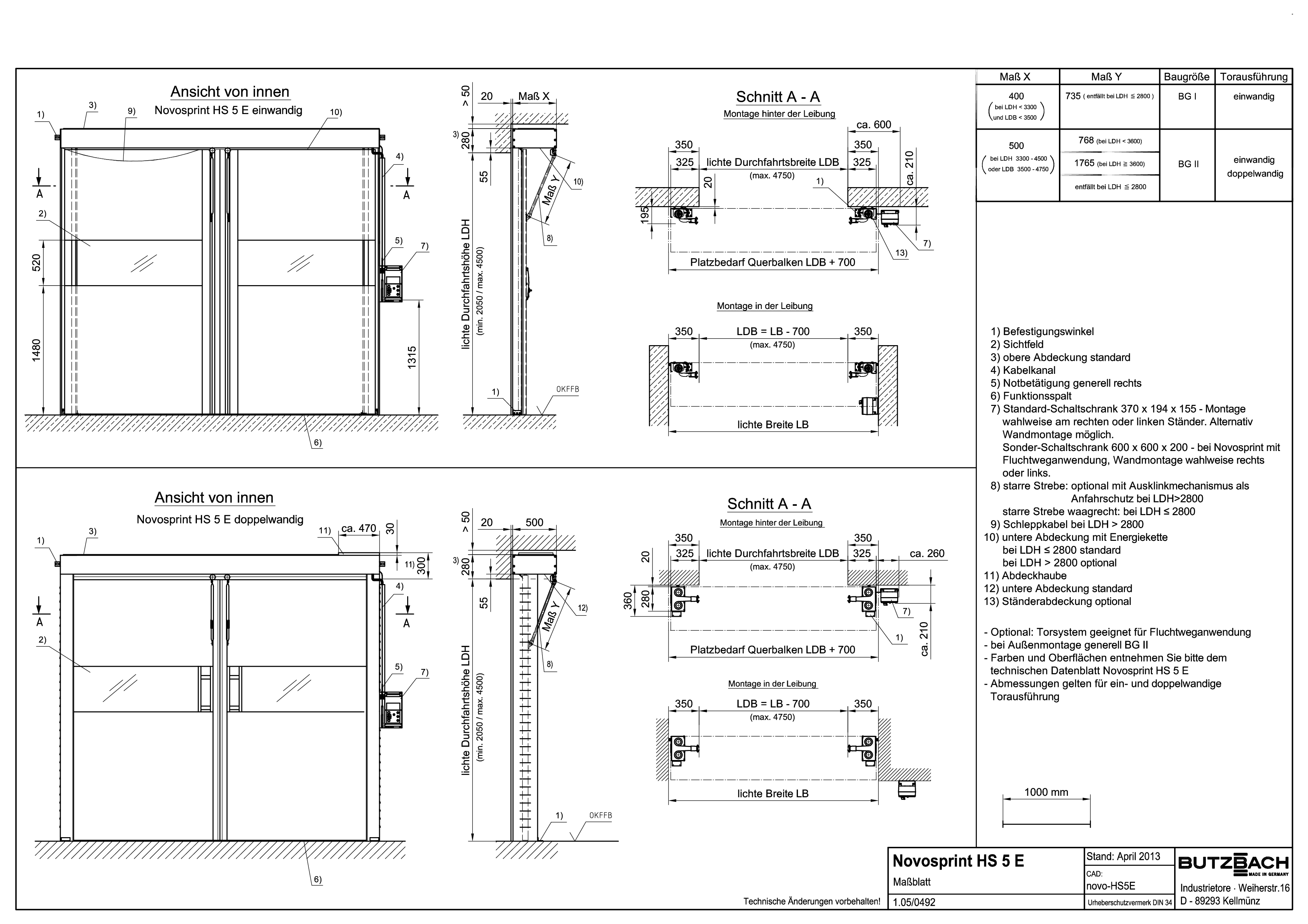 Pagina 1 - CAD-PDF Porti industriale rapide BUTZBACH Detaliu de montaj NOVOSPRINT