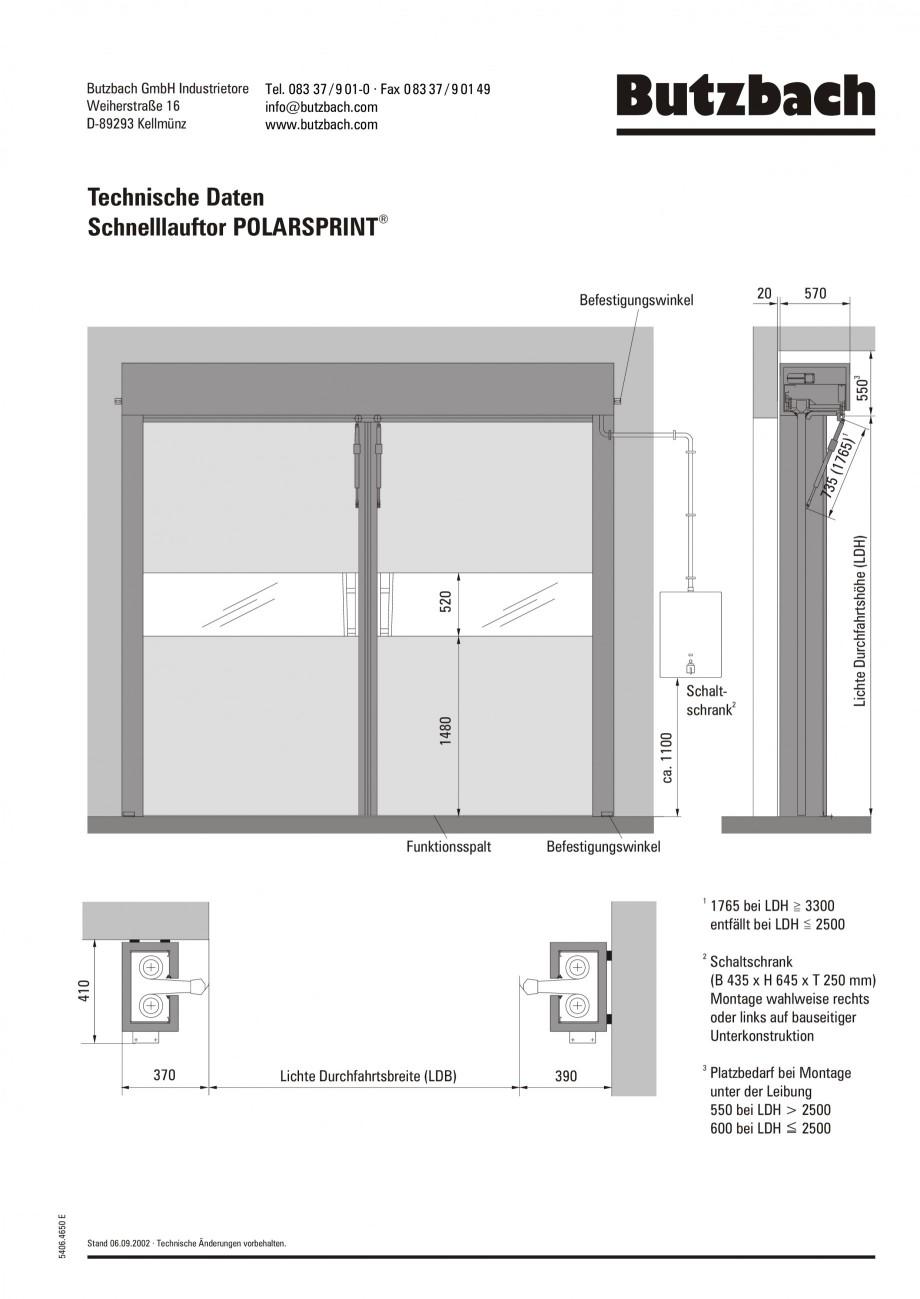 Pagina 1 - Porti industriale rapide BUTZBACH POLARSPRINT Fisa tehnica Germana Butzbach GmbH...