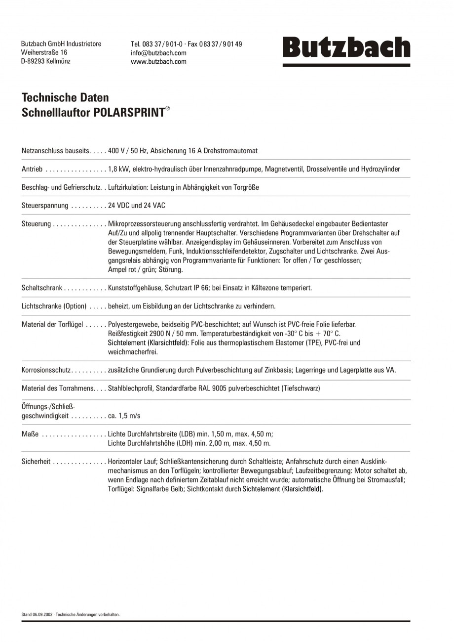Pagina 2 - Porti industriale rapide BUTZBACH POLARSPRINT Fisa tehnica Germana ieb . . . . . . . . . ...