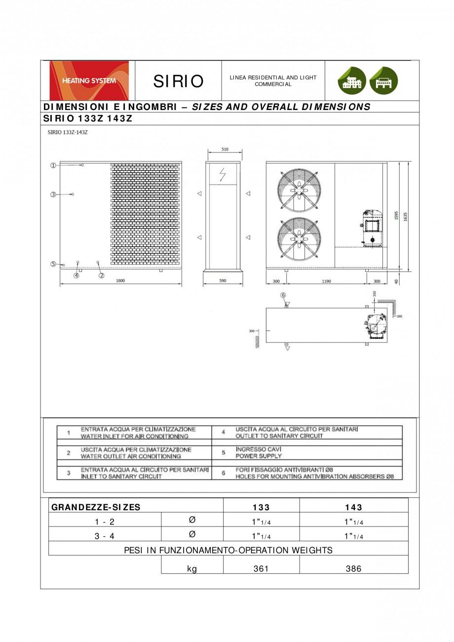 Fisa tehnica pompa de caldura sirio thermocold pompe de - Dimensioni water piccolo ...