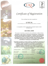 Certificat de calitate - ISO 9001:2008 Q TEST