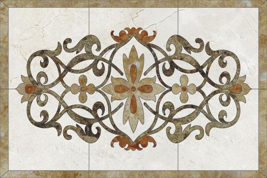 Medalioane decorative pentru pardoseli - Modele Florale SIDORA - Poza 3