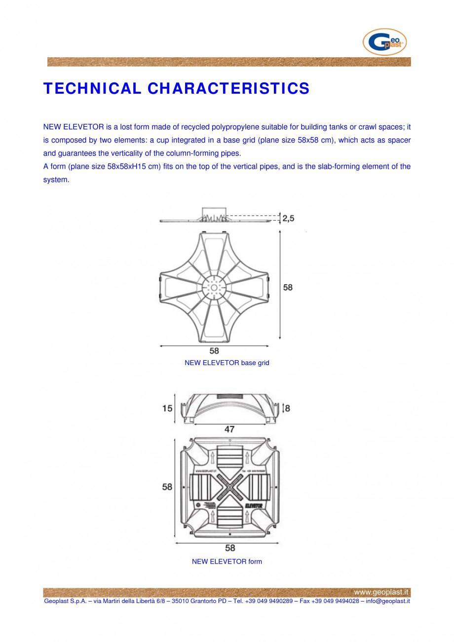 Pagina 1 - Sistem de cofraje pierdute pentru pardoseli ventilate GEOPLAST NEW ELEVETOR ® Fisa...