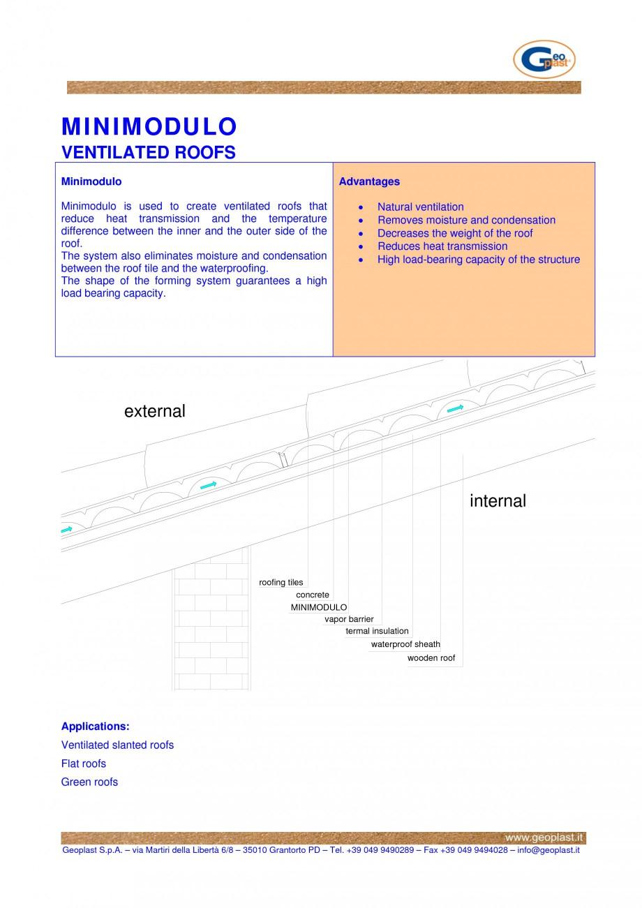 Pagina 1 - Cofraj pierdut din material plastic - Acoperisuri ventilate GEOPLAST MINIMODULO ®...