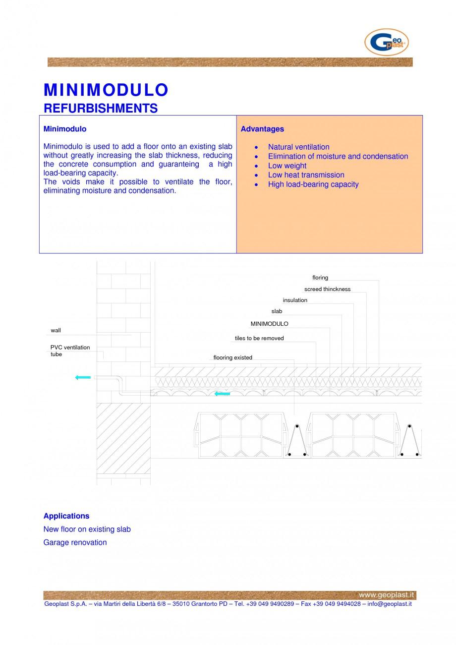 Pagina 1 - Cofraj pierdut din material plastic - Renovari GEOPLAST MINIMODULO ® Lucrari,...
