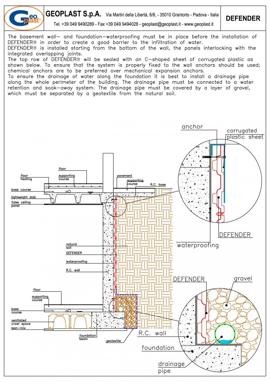 Pagina 3 - Sistem pentru protejarea peretiilor din subsoluri GEOPLAST DEFENDER ® Instructiuni...